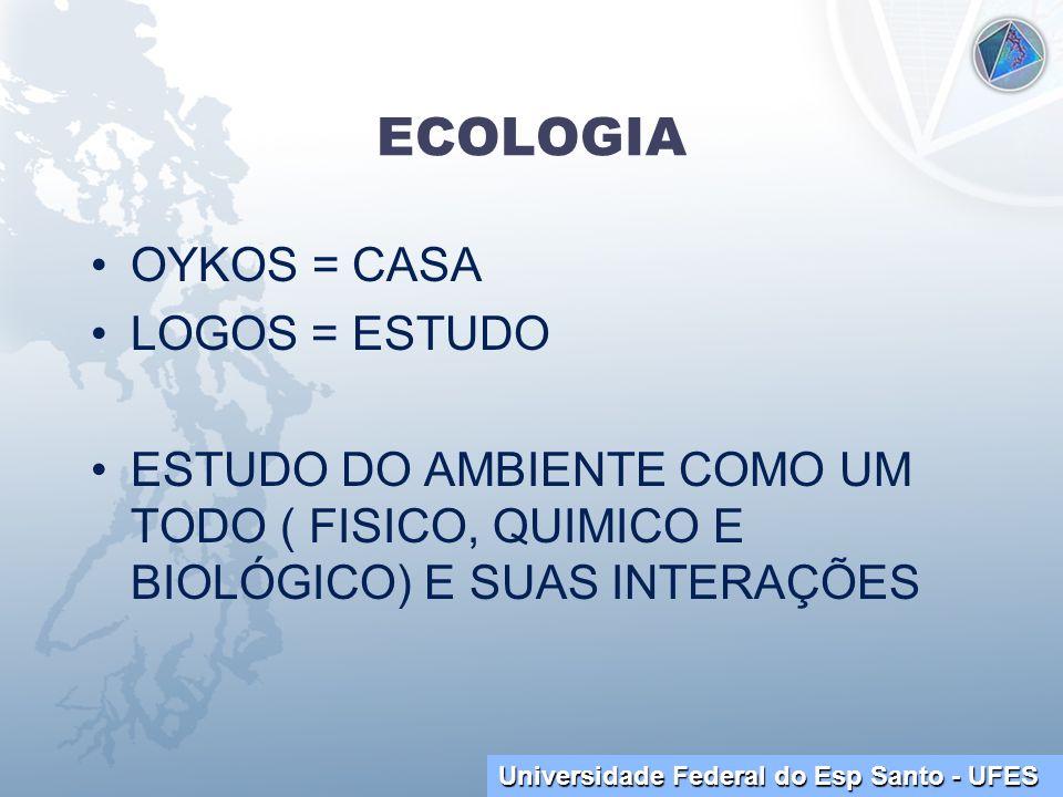 Universidade Federal do Esp Santo - UFES ECOLOGIA OYKOS = CASA LOGOS = ESTUDO ESTUDO DO AMBIENTE COMO UM TODO ( FISICO, QUIMICO E BIOLÓGICO) E SUAS IN