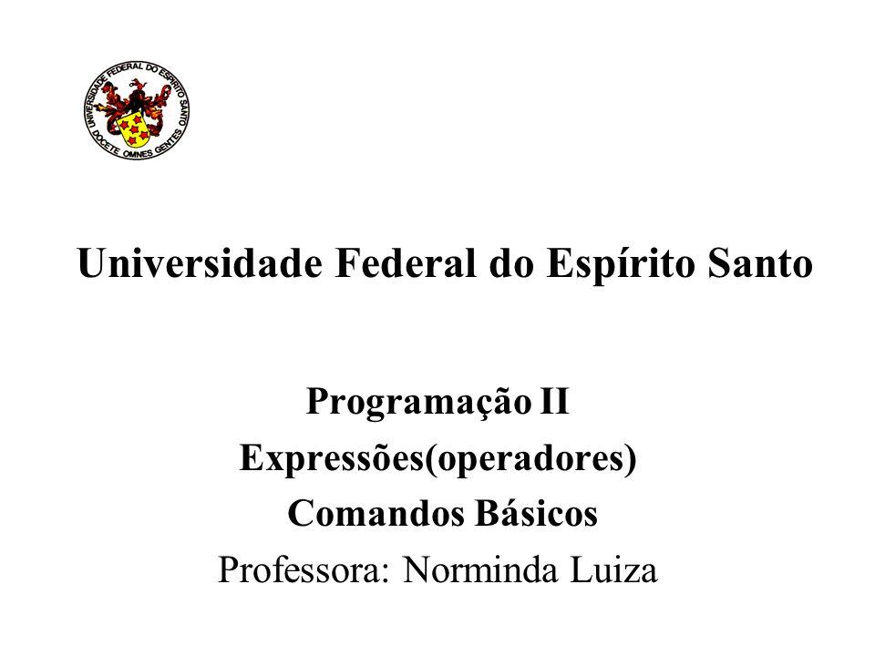 Universidade Federal do Espírito Santo Programação II Expressões(operadores) Comandos Básicos Professora: Norminda Luiza