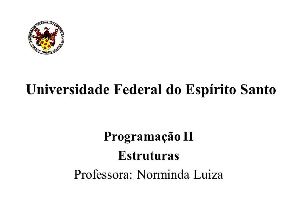 Universidade Federal do Espírito Santo Programação II Estruturas Professora: Norminda Luiza