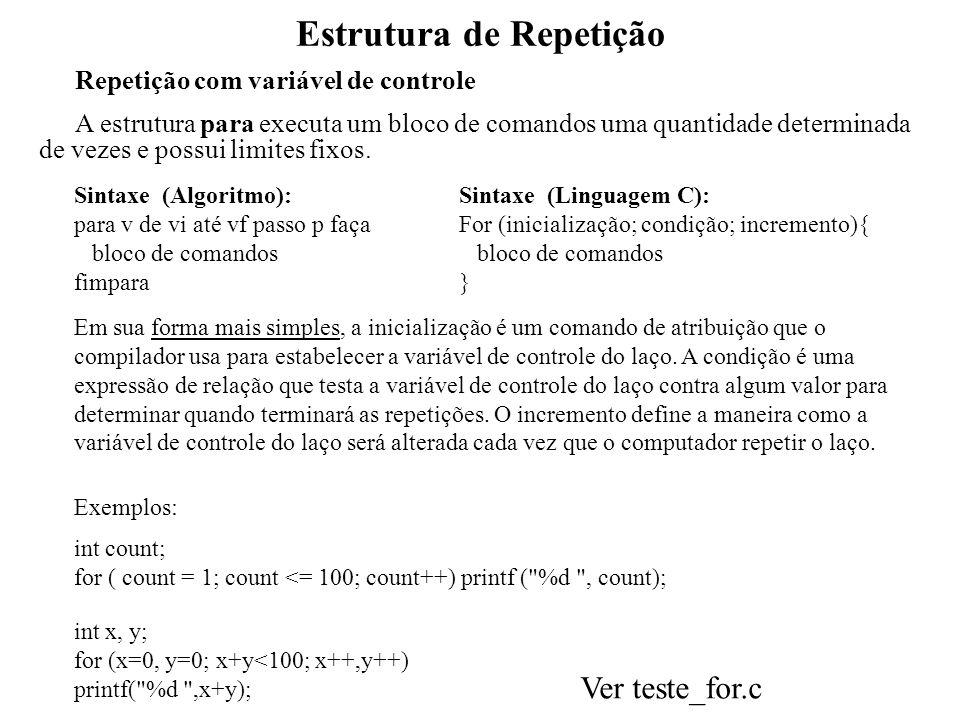 Estrutura de Repetição Repetição com variável de controle A estrutura para executa um bloco de comandos uma quantidade determinada de vezes e possui l