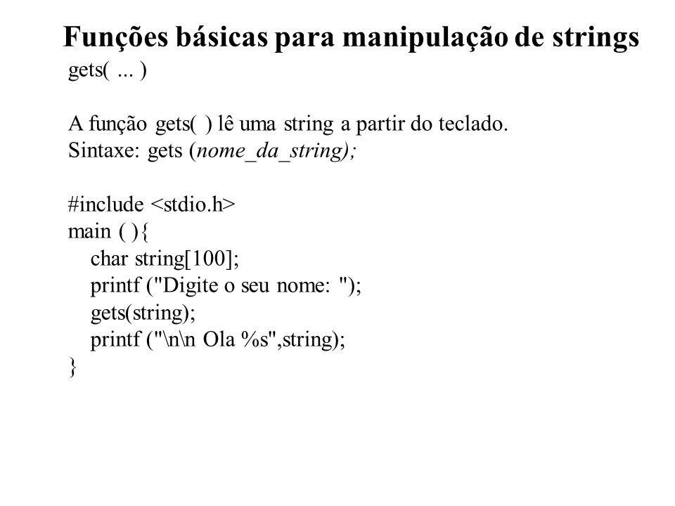 Funções básicas para manipulação de strings gets(...
