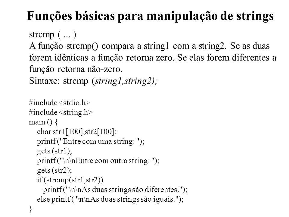 Funções básicas para manipulação de strings strcmp (...