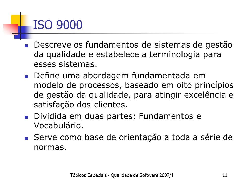 Tópicos Especiais - Qualidade de Software 2007/111 ISO 9000 Descreve os fundamentos de sistemas de gestão da qualidade e estabelece a terminologia par