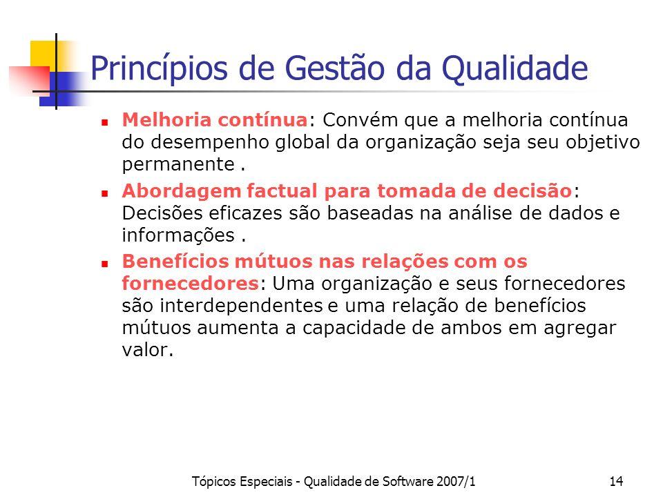 Tópicos Especiais - Qualidade de Software 2007/114 Princípios de Gestão da Qualidade Melhoria contínua: Convém que a melhoria contínua do desempenho g