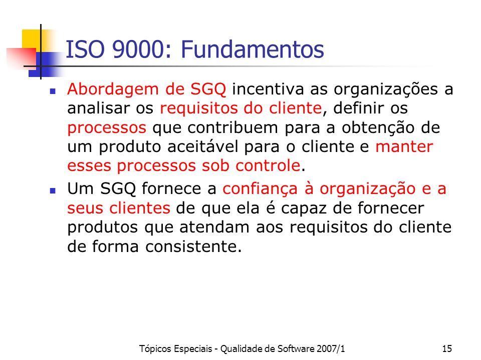 Tópicos Especiais - Qualidade de Software 2007/115 ISO 9000: Fundamentos Abordagem de SGQ incentiva as organizações a analisar os requisitos do client