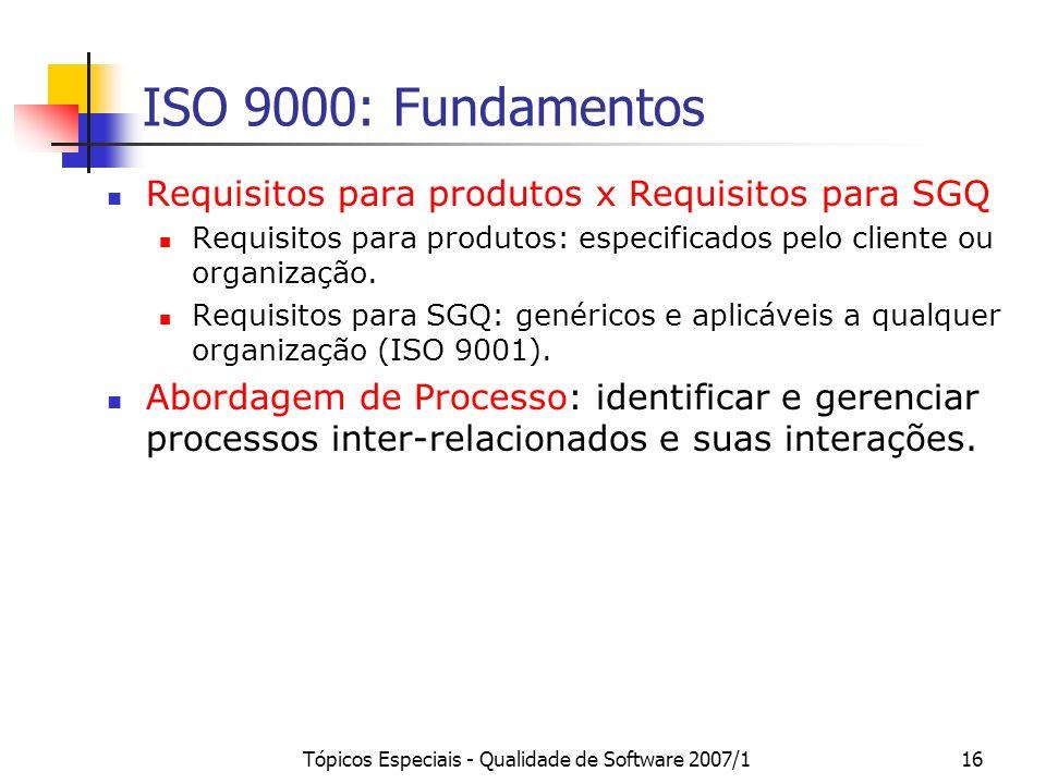 Tópicos Especiais - Qualidade de Software 2007/116 ISO 9000: Fundamentos Requisitos para produtos x Requisitos para SGQ Requisitos para produtos: espe