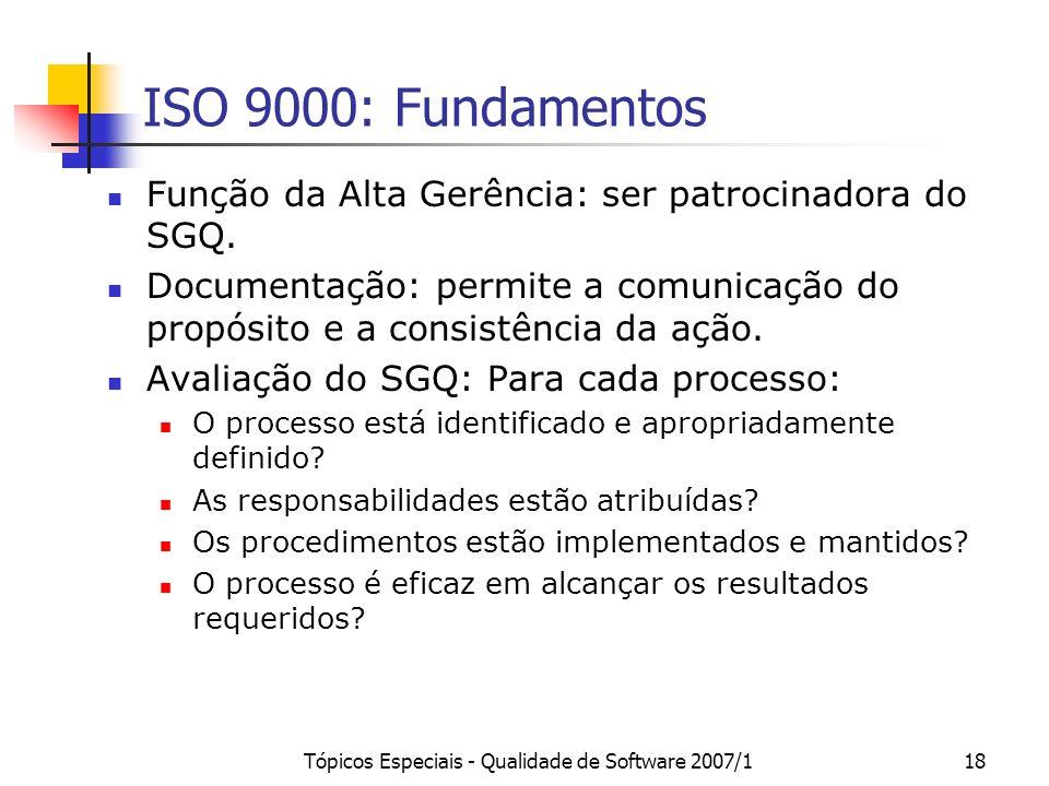 Tópicos Especiais - Qualidade de Software 2007/118 ISO 9000: Fundamentos Função da Alta Gerência: ser patrocinadora do SGQ. Documentação: permite a co