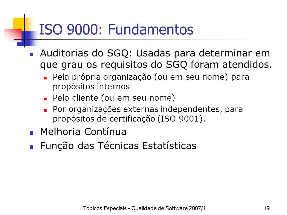 Tópicos Especiais - Qualidade de Software 2007/119 ISO 9000: Fundamentos Auditorias do SGQ: Usadas para determinar em que grau os requisitos do SGQ fo