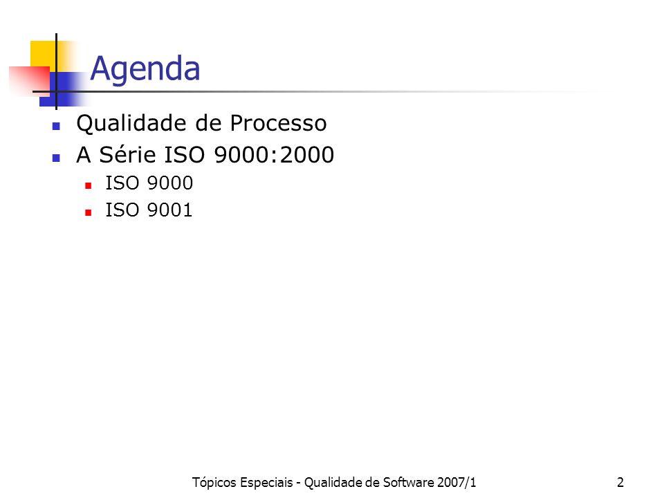 Tópicos Especiais - Qualidade de Software 2007/12 Agenda Qualidade de Processo A Série ISO 9000:2000 ISO 9000 ISO 9001