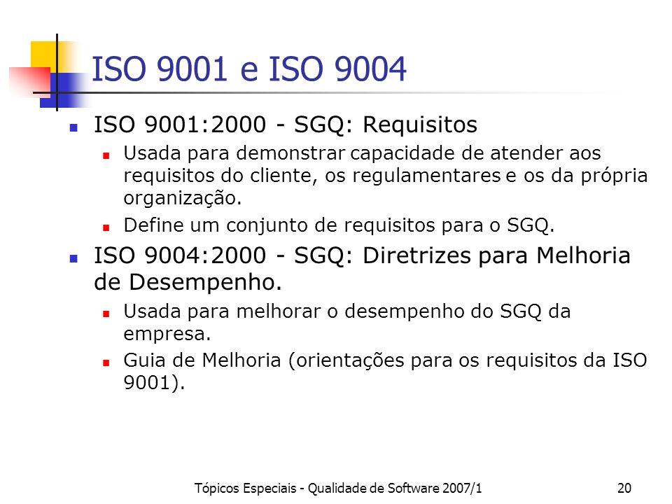 Tópicos Especiais - Qualidade de Software 2007/120 ISO 9001 e ISO 9004 ISO 9001:2000 - SGQ: Requisitos Usada para demonstrar capacidade de atender aos