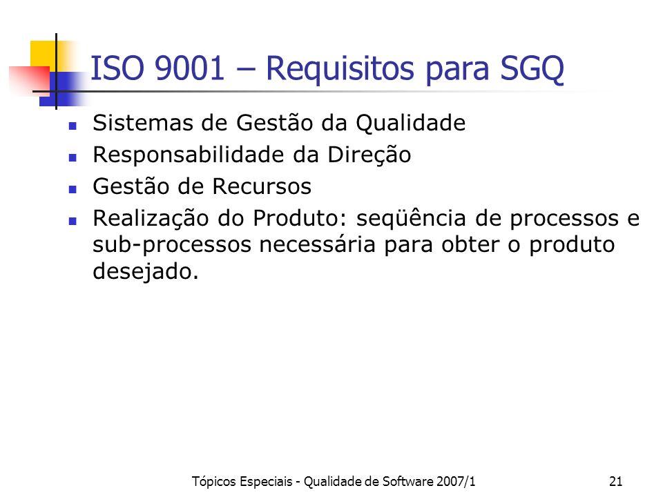 Tópicos Especiais - Qualidade de Software 2007/121 ISO 9001 – Requisitos para SGQ Sistemas de Gestão da Qualidade Responsabilidade da Direção Gestão d