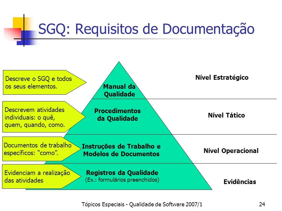Tópicos Especiais - Qualidade de Software 2007/124 SGQ: Requisitos de Documentação Manual da Qualidade Procedimentos da Qualidade Instruções de Trabal