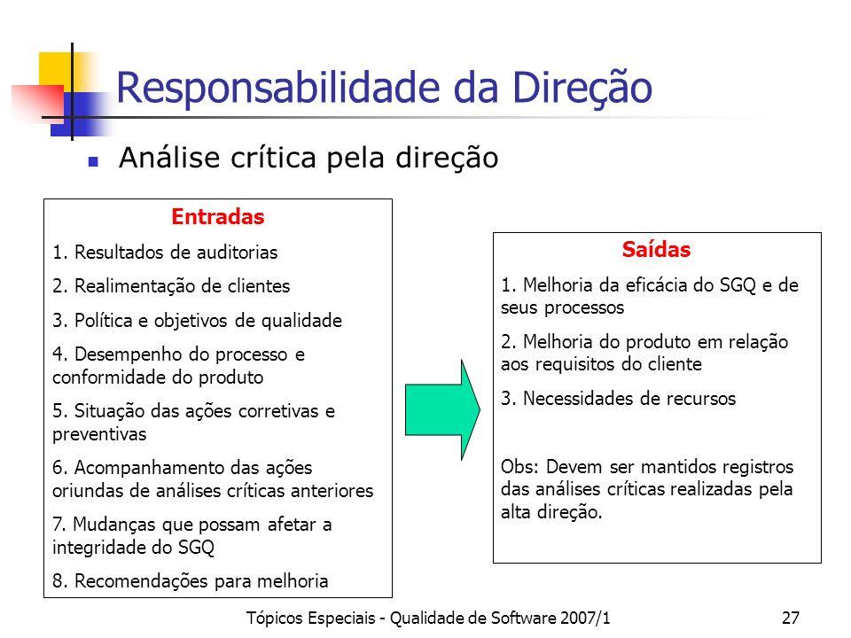 Tópicos Especiais - Qualidade de Software 2007/127 Responsabilidade da Direção Análise crítica pela direção Entradas 1. Resultados de auditorias 2. Re