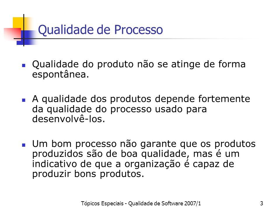 Tópicos Especiais - Qualidade de Software 2007/13 Qualidade de Processo Qualidade do produto não se atinge de forma espontânea. A qualidade dos produt
