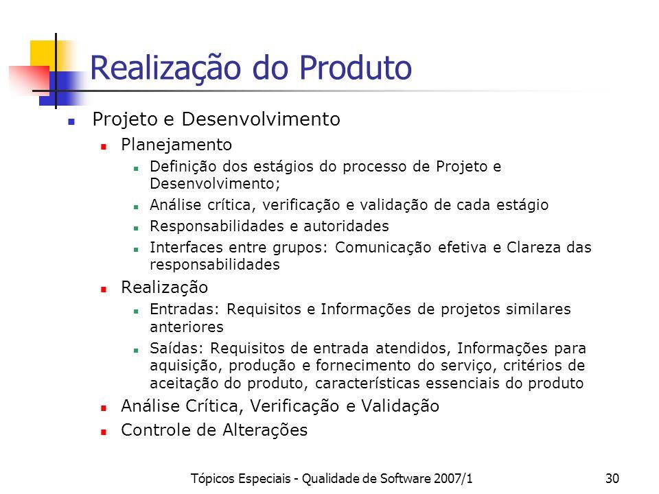 Tópicos Especiais - Qualidade de Software 2007/130 Realização do Produto Projeto e Desenvolvimento Planejamento Definição dos estágios do processo de