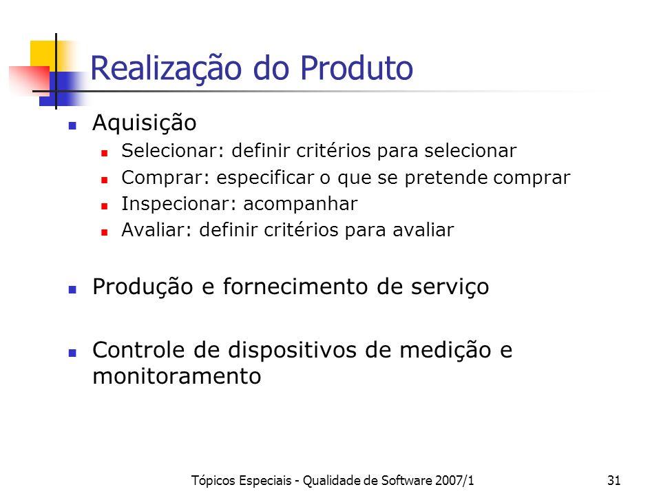 Tópicos Especiais - Qualidade de Software 2007/131 Realização do Produto Aquisição Selecionar: definir critérios para selecionar Comprar: especificar