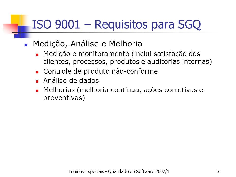 Tópicos Especiais - Qualidade de Software 2007/132 ISO 9001 – Requisitos para SGQ Medição, Análise e Melhoria Medição e monitoramento (inclui satisfaç