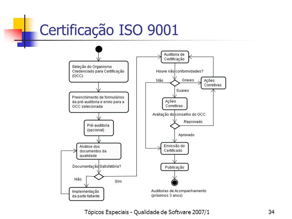 Tópicos Especiais - Qualidade de Software 2007/134 Certificação ISO 9001