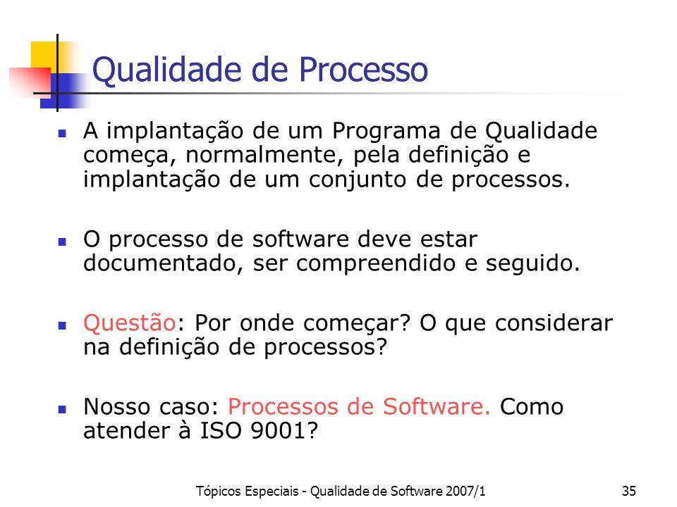Tópicos Especiais - Qualidade de Software 2007/135 Qualidade de Processo A implantação de um Programa de Qualidade começa, normalmente, pela definição