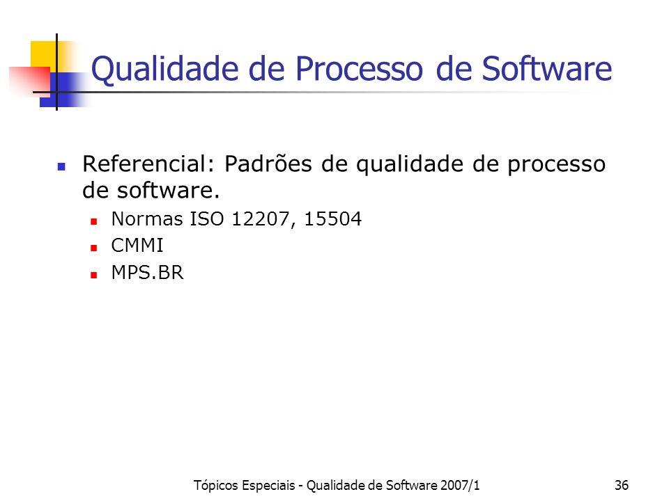Tópicos Especiais - Qualidade de Software 2007/136 Qualidade de Processo de Software Referencial: Padrões de qualidade de processo de software. Normas