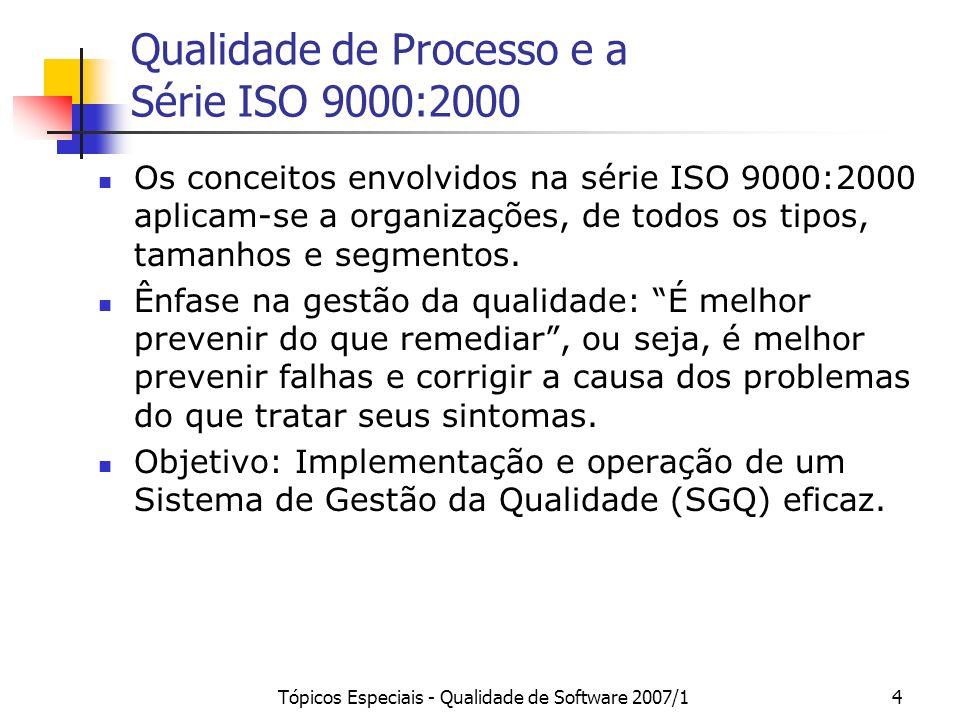 Tópicos Especiais - Qualidade de Software 2007/14 Qualidade de Processo e a Série ISO 9000:2000 Os conceitos envolvidos na série ISO 9000:2000 aplicam