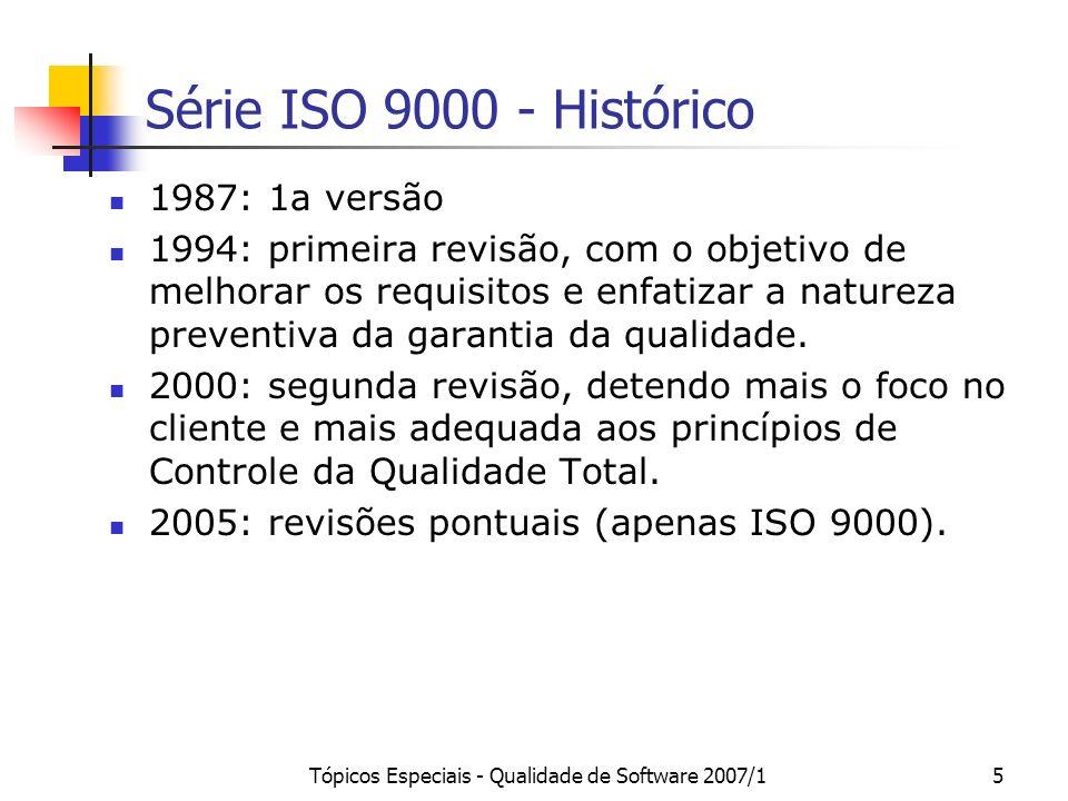 Tópicos Especiais - Qualidade de Software 2007/15 Série ISO 9000 - Histórico 1987: 1a versão 1994: primeira revisão, com o objetivo de melhorar os req