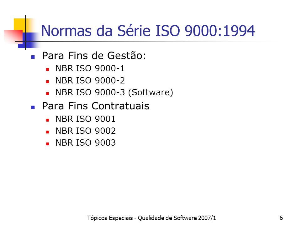 Tópicos Especiais - Qualidade de Software 2007/16 Normas da Série ISO 9000:1994 Para Fins de Gestão: NBR ISO 9000-1 NBR ISO 9000-2 NBR ISO 9000-3 (Sof