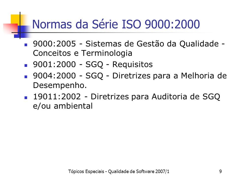 Tópicos Especiais - Qualidade de Software 2007/19 Normas da Série ISO 9000:2000 9000:2005 - Sistemas de Gestão da Qualidade - Conceitos e Terminologia