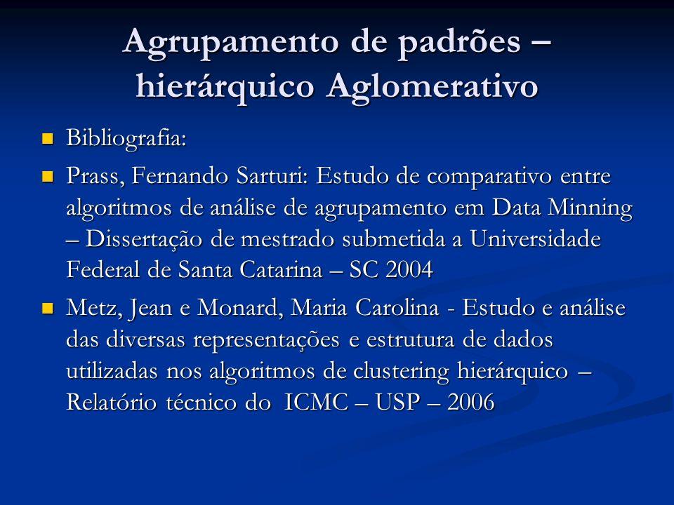 Agrupamento de padrões – hierárquico Aglomerativo Bibliografia: Bibliografia: Prass, Fernando Sarturi: Estudo de comparativo entre algoritmos de análi