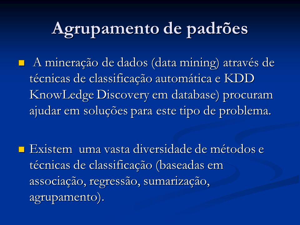 Agrupamento de padrões A mineração de dados (data mining) através de técnicas de classificação automática e KDD KnowLedge Discovery em database) procu