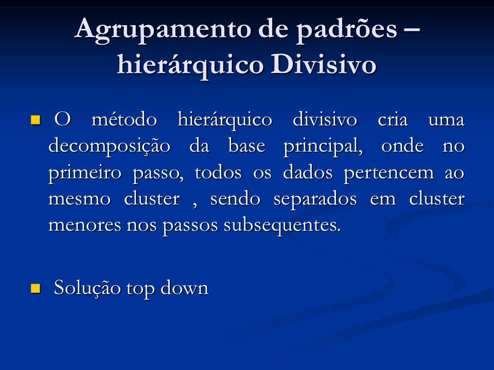 Agrupamento de padrões – hierárquico Divisivo O método hierárquico divisivo cria uma decomposição da base principal, onde no primeiro passo, todos os