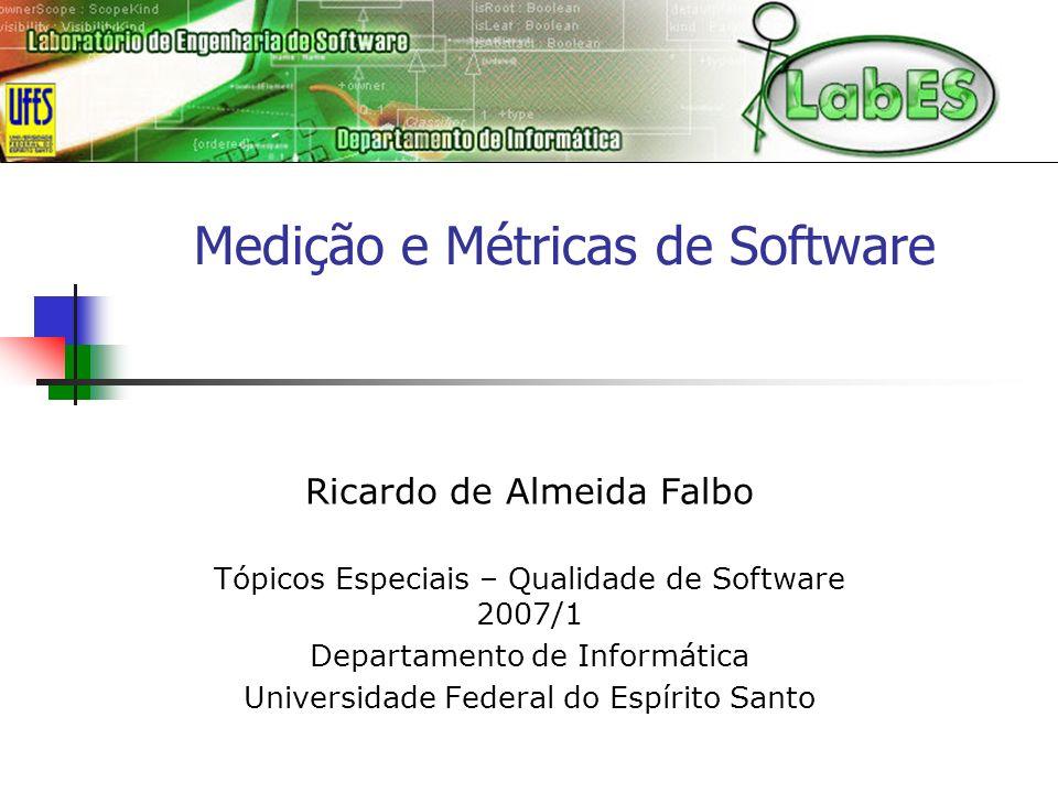 Medição e Métricas de Software Ricardo de Almeida Falbo Tópicos Especiais – Qualidade de Software 2007/1 Departamento de Informática Universidade Fede