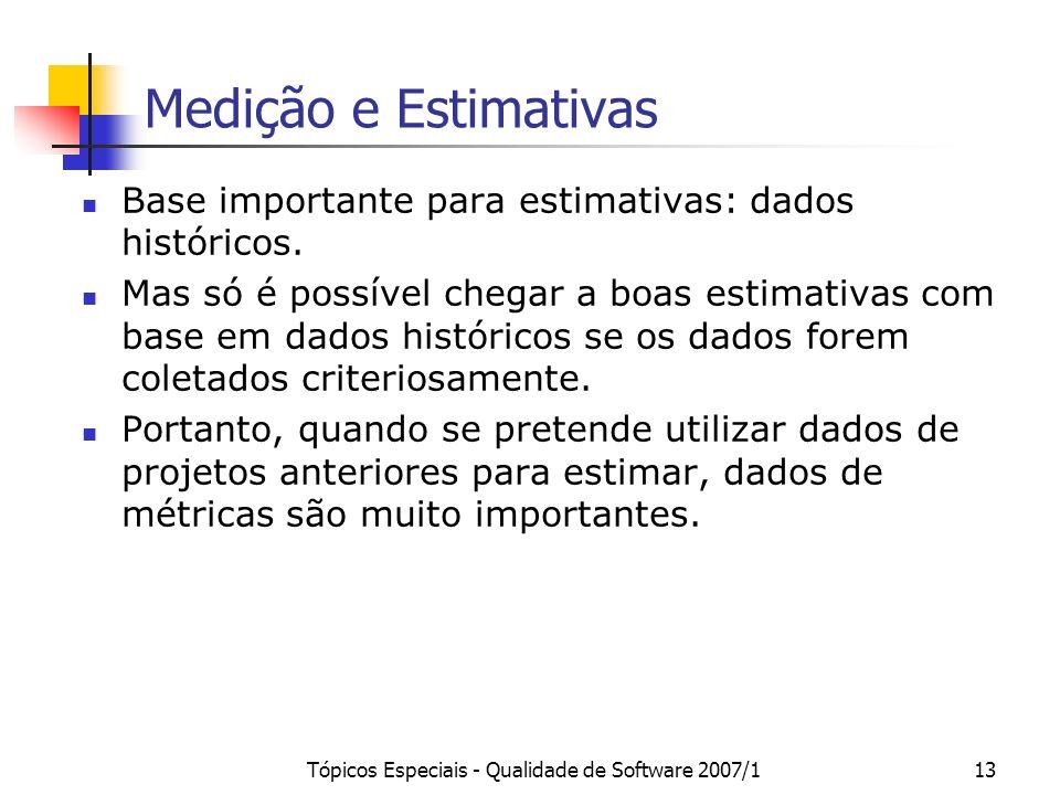 Tópicos Especiais - Qualidade de Software 2007/113 Medição e Estimativas Base importante para estimativas: dados históricos. Mas só é possível chegar