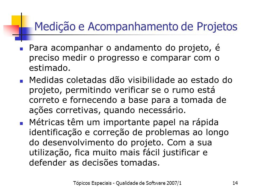 Tópicos Especiais - Qualidade de Software 2007/114 Medição e Acompanhamento de Projetos Para acompanhar o andamento do projeto, é preciso medir o prog