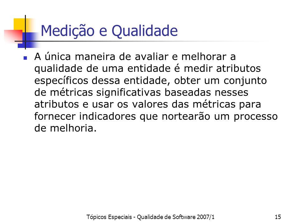 Tópicos Especiais - Qualidade de Software 2007/115 Medição e Qualidade A única maneira de avaliar e melhorar a qualidade de uma entidade é medir atrib
