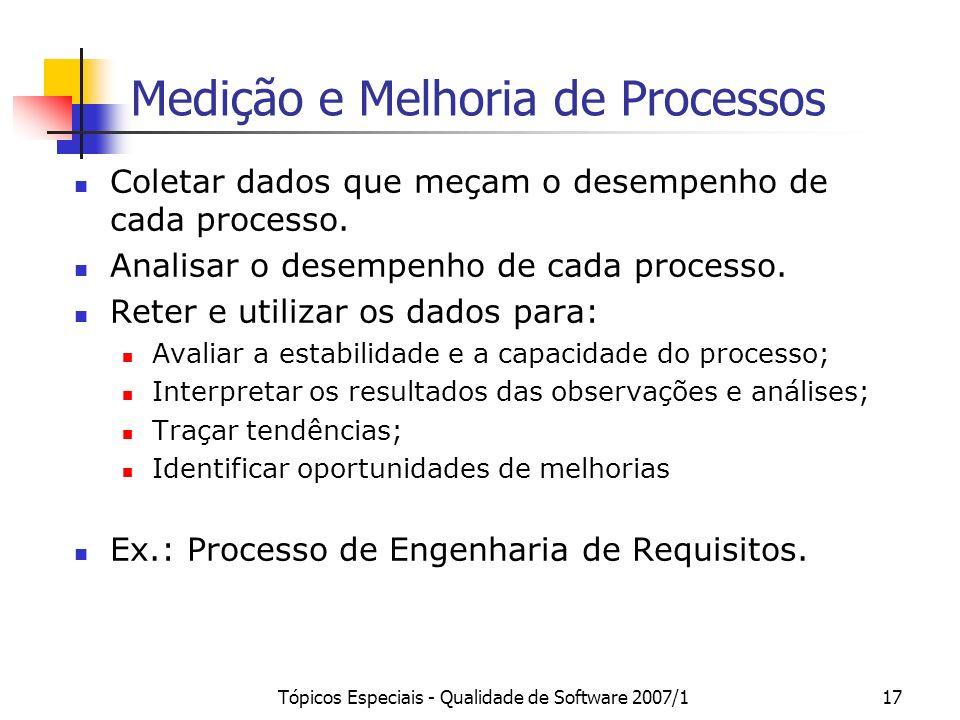 Tópicos Especiais - Qualidade de Software 2007/117 Medição e Melhoria de Processos Coletar dados que meçam o desempenho de cada processo. Analisar o d