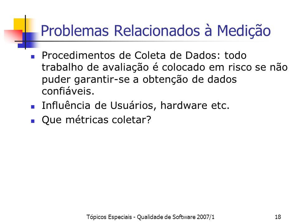 Tópicos Especiais - Qualidade de Software 2007/118 Problemas Relacionados à Medição Procedimentos de Coleta de Dados: todo trabalho de avaliação é col