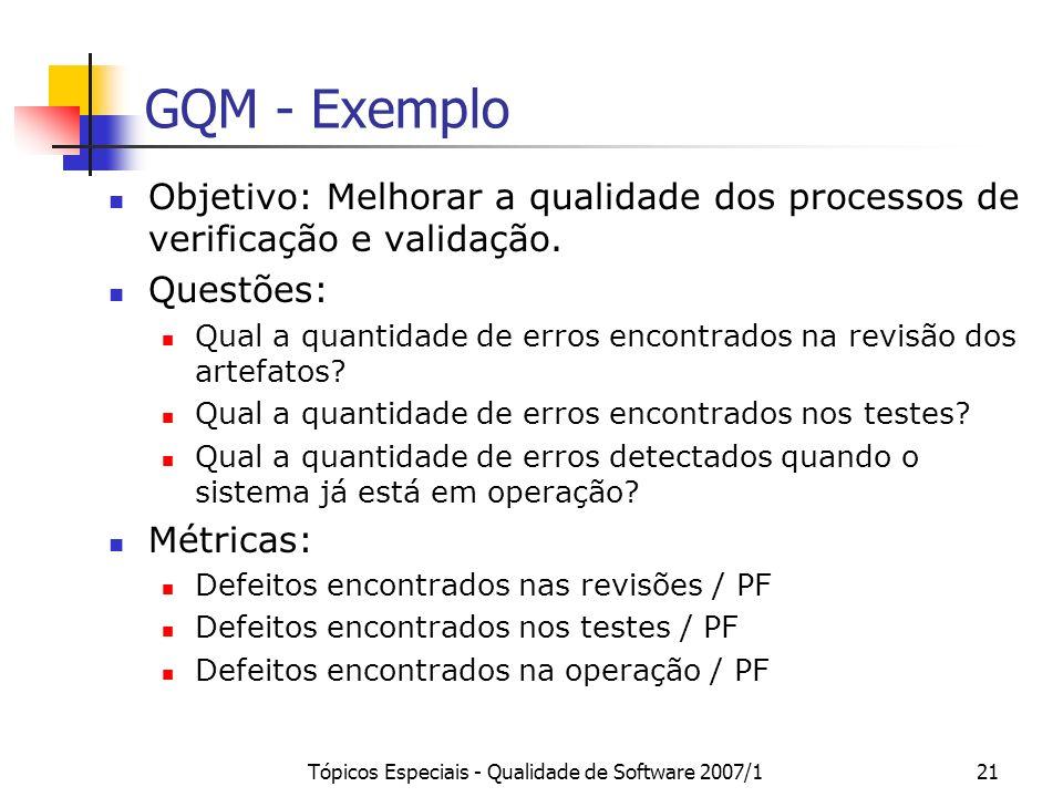 Tópicos Especiais - Qualidade de Software 2007/121 GQM - Exemplo Objetivo: Melhorar a qualidade dos processos de verificação e validação. Questões: Qu