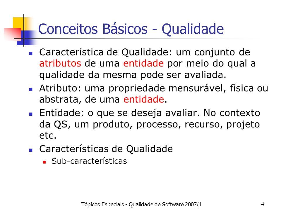 Tópicos Especiais - Qualidade de Software 2007/15 Exemplo 1 Entidade a ser avaliada: ferramenta CASE de modelagem UML (p.ex., Jude) Características de Qualidade: Funcionalidade (adequabilidade) Usabilidade Facilidade para o aprendizado Facilidade para a operação Facilidade de compreender Eficiência Em termos de tempo Em relação à utilização de recursos Portabilidade Questão: Como medir?