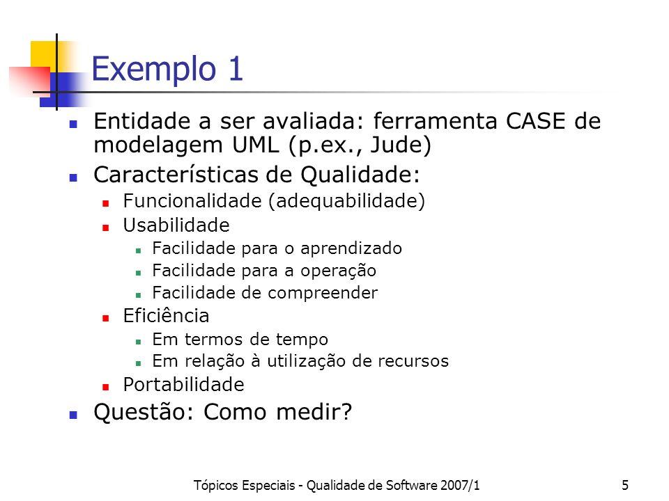 Tópicos Especiais - Qualidade de Software 2007/15 Exemplo 1 Entidade a ser avaliada: ferramenta CASE de modelagem UML (p.ex., Jude) Características de
