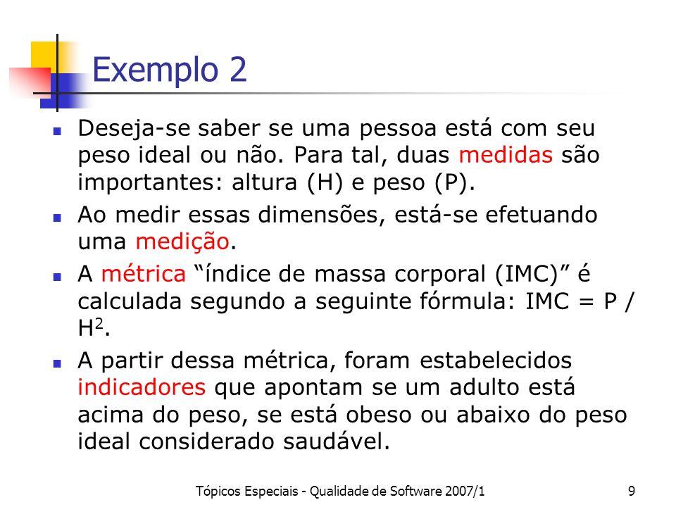 Tópicos Especiais - Qualidade de Software 2007/110 Exemplo 2 Indicadores da Organização Mundial de Saúde CondiçãoIMC em adultos abaixo do pesoabaixo de 18,5 no peso normalentre 18,5 e 25 acima do pesoentre 25 e 30 obesoacima de 30
