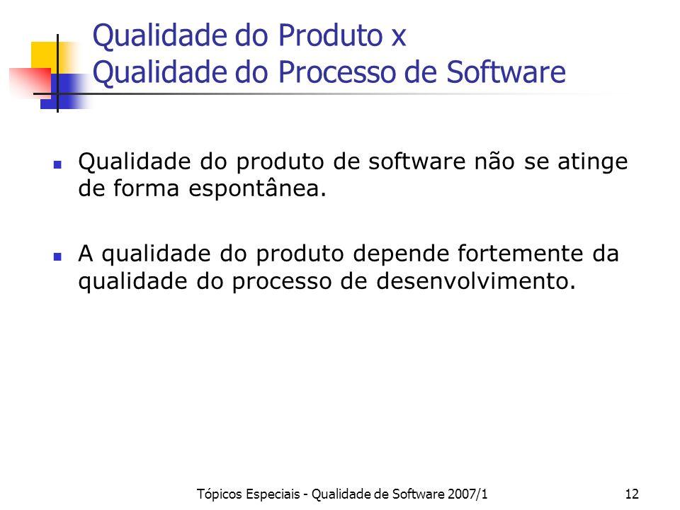 Tópicos Especiais - Qualidade de Software 2007/112 Qualidade do Produto x Qualidade do Processo de Software Qualidade do produto de software não se at