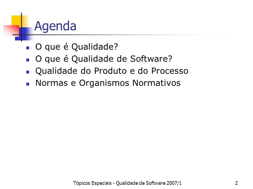 Tópicos Especiais - Qualidade de Software 2007/12 Agenda O que é Qualidade? O que é Qualidade de Software? Qualidade do Produto e do Processo Normas e