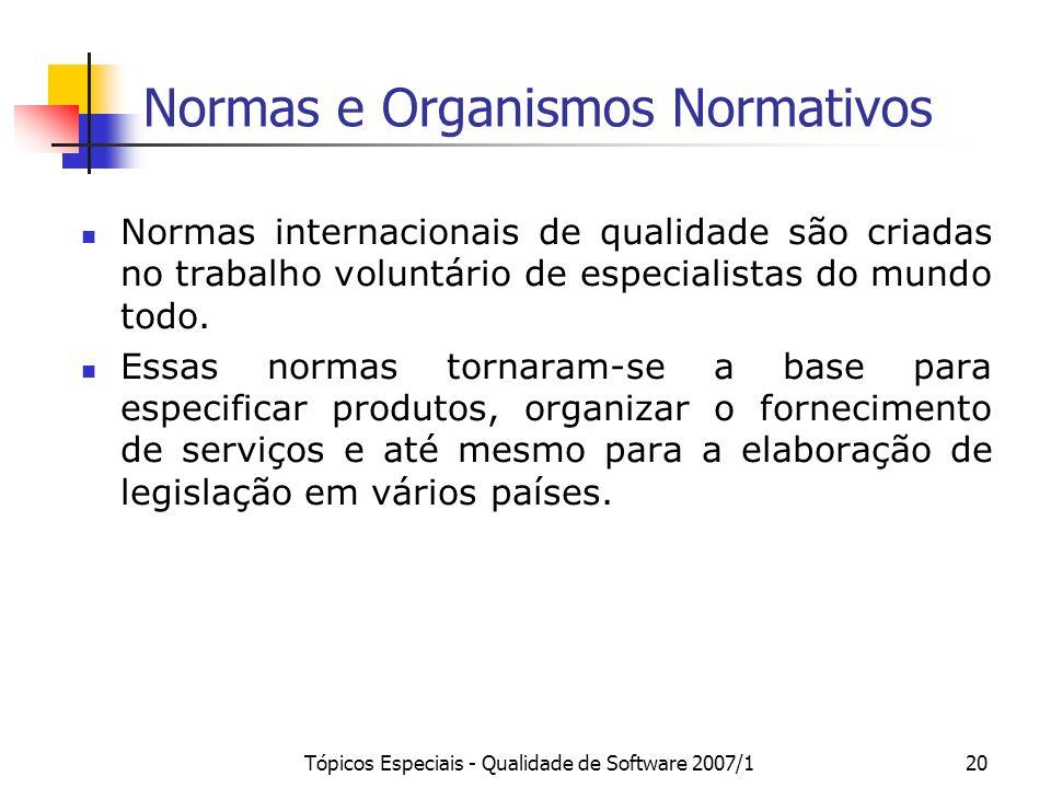 Tópicos Especiais - Qualidade de Software 2007/120 Normas e Organismos Normativos Normas internacionais de qualidade são criadas no trabalho voluntári