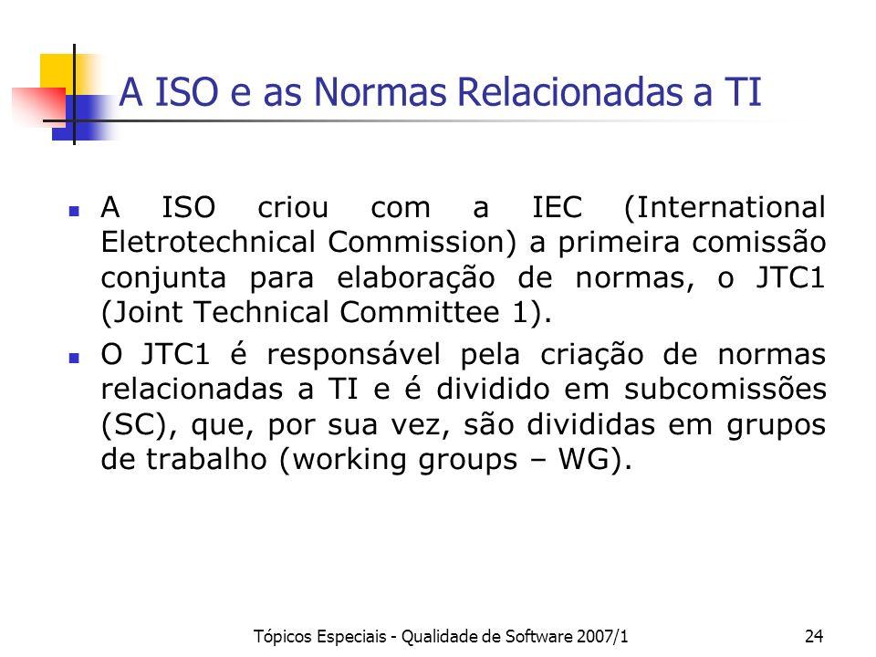 Tópicos Especiais - Qualidade de Software 2007/124 A ISO e as Normas Relacionadas a TI A ISO criou com a IEC (International Eletrotechnical Commission