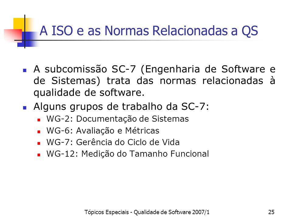 Tópicos Especiais - Qualidade de Software 2007/125 A ISO e as Normas Relacionadas a QS A subcomissão SC-7 (Engenharia de Software e de Sistemas) trata