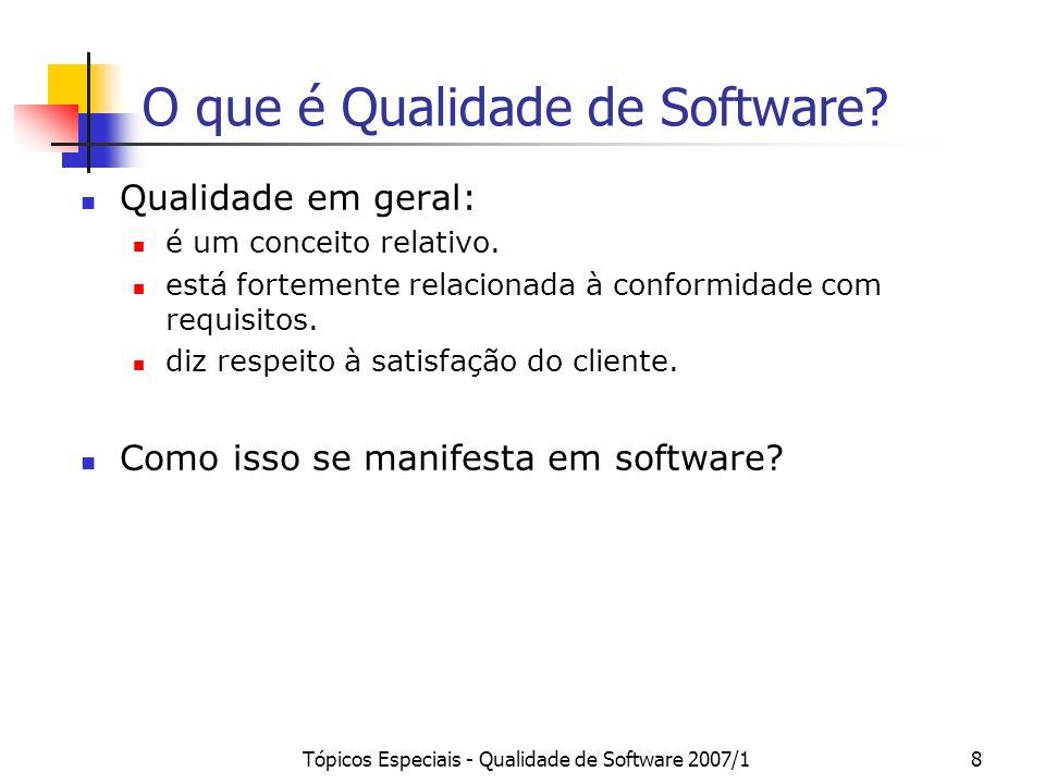 Tópicos Especiais - Qualidade de Software 2007/18 O que é Qualidade de Software? Qualidade em geral: é um conceito relativo. está fortemente relaciona