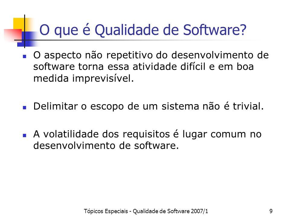 Tópicos Especiais - Qualidade de Software 2007/19 O que é Qualidade de Software? O aspecto não repetitivo do desenvolvimento de software torna essa at