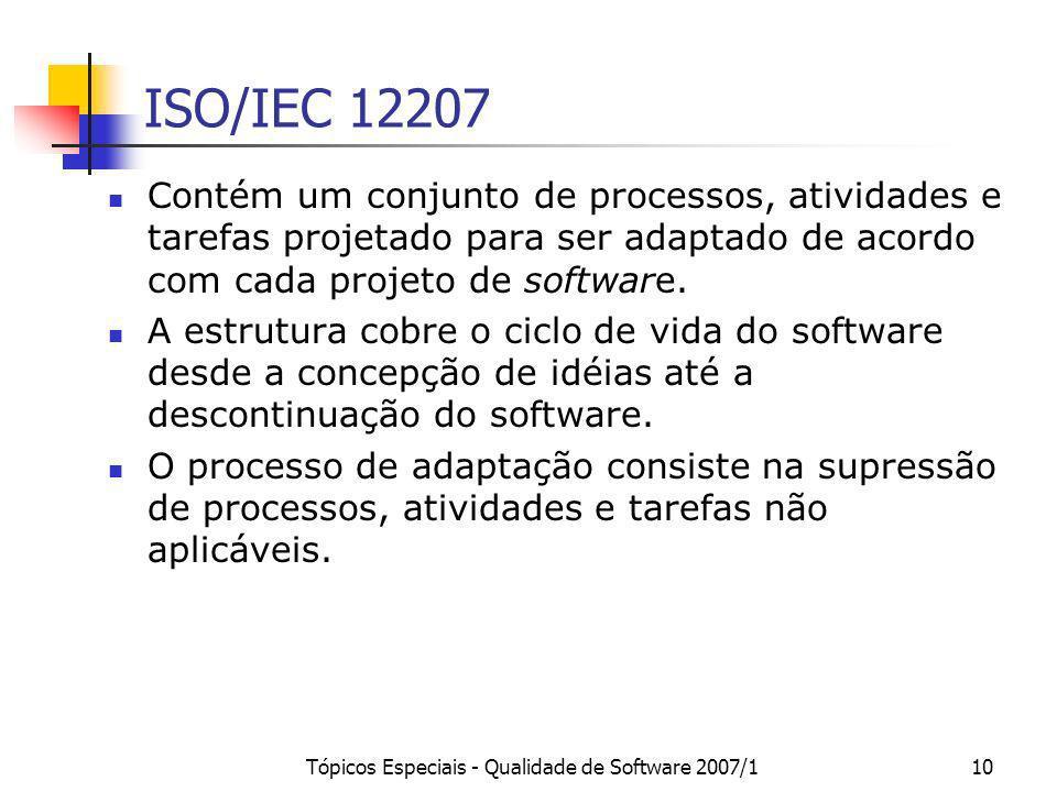 Tópicos Especiais - Qualidade de Software 2007/110 ISO/IEC 12207 Contém um conjunto de processos, atividades e tarefas projetado para ser adaptado de