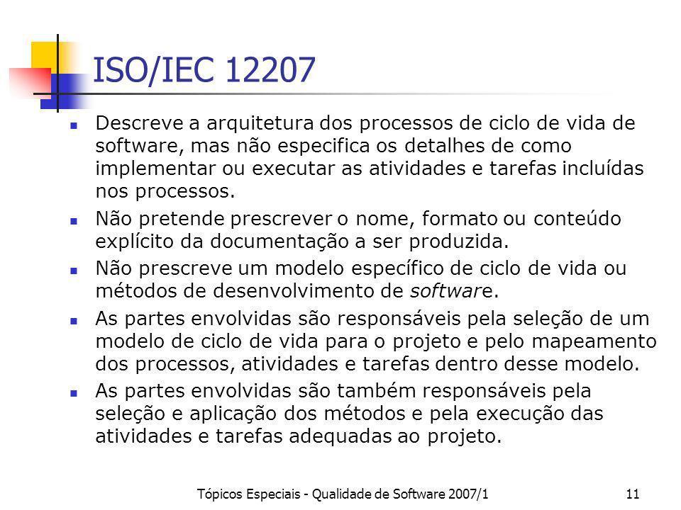 Tópicos Especiais - Qualidade de Software 2007/111 ISO/IEC 12207 Descreve a arquitetura dos processos de ciclo de vida de software, mas não especifica